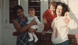 Mum & me (right), sister Rana in arms of landlady (left). Sri Lanka, 1983 - Outside Guesthouse.