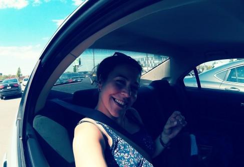 Jojo riding around in HUGE car, on HUGE roads, to HUGE shopping stores... HUGE, all was HUGE!