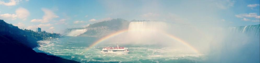 Rainbow over Niagara, boat