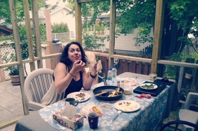 Munching on Arabic food, & looking guilty, Laval