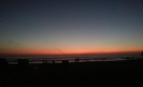 Night falls on Kuta beach, Bali