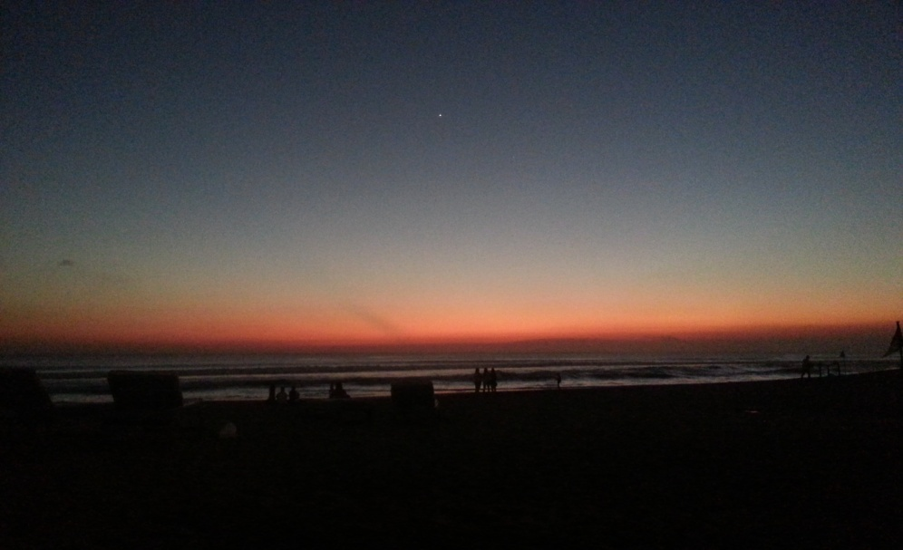 Night falls on Kuta beach, Bali