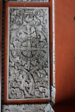 Stone carving in doorway