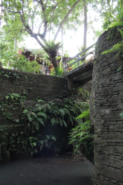 Walkway to hotels, over river & hidden temple